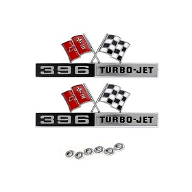 65 FRONT FENDER EMBLEM '396 TURBO-JET' (PAIR)