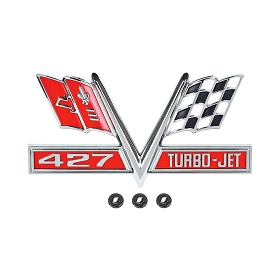 66 FRONT FENDER EMBLEM '427 TURBO-JET' (PAIR)