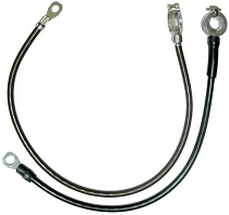 1963-66 CORVETTE BATTERY CABLE SET, POS & NEG, SPRING RING, ALL SMALL BLOCK WITHOUT AIR CONDITIONING
