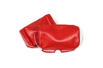 1966-67 CORVETTE HEADREST COVERS-PAIR-LEATHER RED