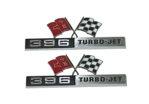 65 FRONT FENDER EMBLEM '396 TURBO-JET' - IMPORT (PAIR)