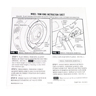 67-72 TRIM RING GLOVE BOX CARD (DECAL)