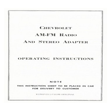 68-72 AM/FM STEREO INSTRUCTION SHEET DECAL