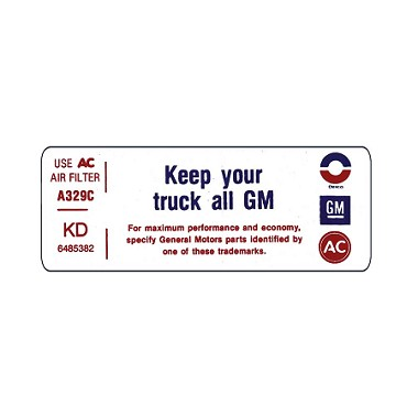 71-72 Air Cleaner Decals  'KEEP YOUR G.M.C