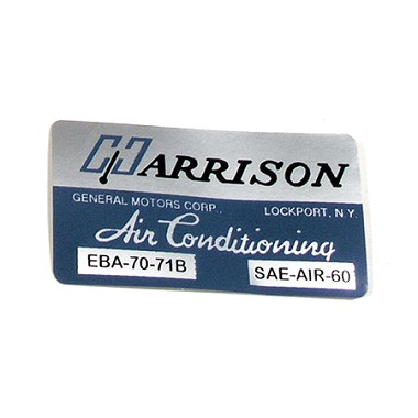 71 AIR CONDITIONING FOIL PLATE DECAL