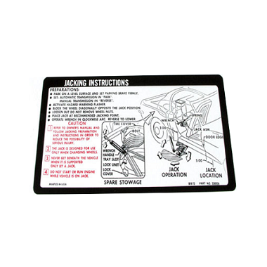 73-74 JACKING INSTRUCTIONS DECAL